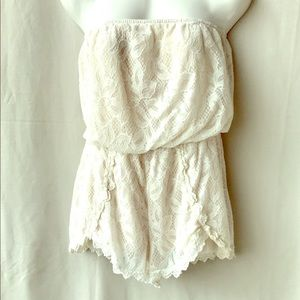Free People White Lace Strapless Romper, XS